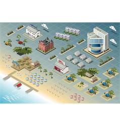 Detailed of isometric seaside buildings vector