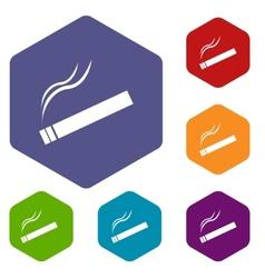 Cigarette rhombus icons vector