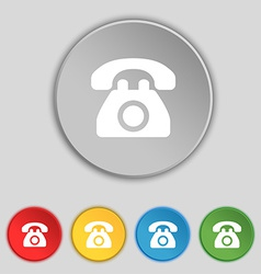 Retro telephone icon sign symbol on five flat vector