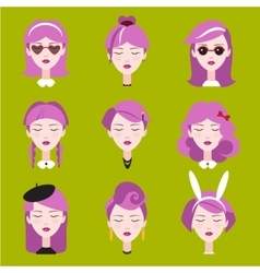 Fashion girls in head accessories set vector