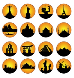 Button famous places in the world vector