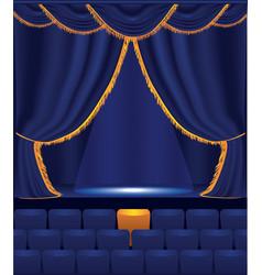 Empty cinema with blue curtain vector