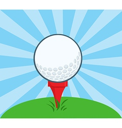 Golf ball with tee ready vector