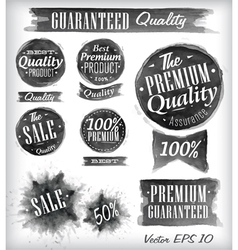 Watercolor quality badges black vector