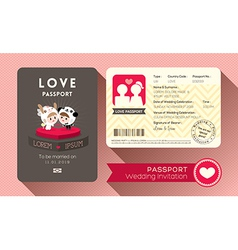 Cartoon passport wedding invitation card vector