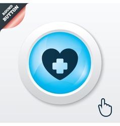 Medical heart sign icon cross symbol vector