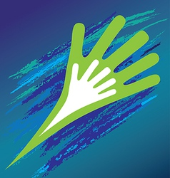 Hand of the child in father encouragement help vector