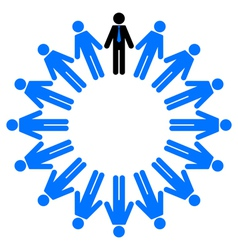 Employees and manager in circle vector