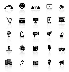 Media marketing icons with reflect on white vector