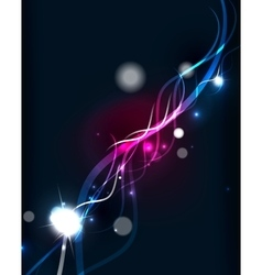 Glowing flowing waves and stars in dark space vector