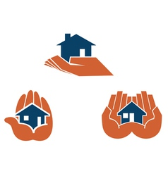 House in hands symbols and pictograms vector