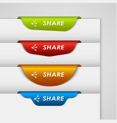 Color label bookmark share on the edge of web page vector