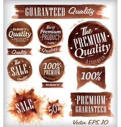 Watercolor quality badges brown vector