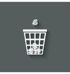 Trash basket with crumpled paper vector