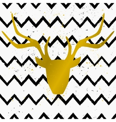 Gold deer head on chevron pattern background vector