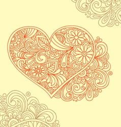 Floral decorative heart doodle vector