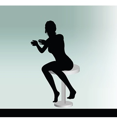 Woman silhouette with sitting pose leaning on vector
