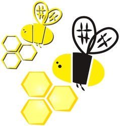 Bee and honeycomb vector
