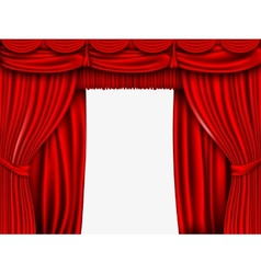 Red silk curtain with shadows and pelmet vector