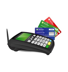 Payment terminal with color bank cards vector