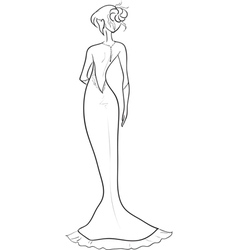Bride with an open back vector