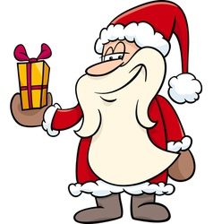 Santa with gift cartoon vector