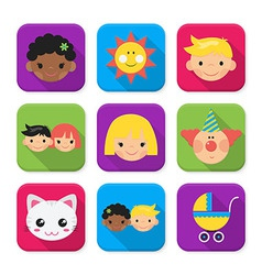 Childhood squared app icon set vector