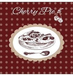 Cherry pie vintage style vector
