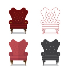 Flat design icon set of classic chair vector