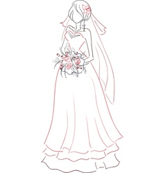 Bride with bouquet sketch vector