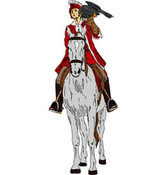 Falconer on horse vector