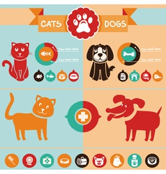 Set of infographics design elements - dogs and cat vector