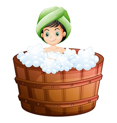 A cute little girl taking a bath vector