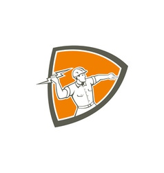 Electrician holding lightning bolt shield retro vector
