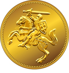 Gold money coin with knight vector
