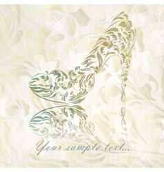 Vintage floral greeting card shoes vector
