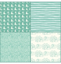 Set of decorative nautical seamless patterns vector
