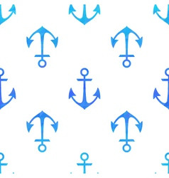 Seamless white pattern with blue anchors vector