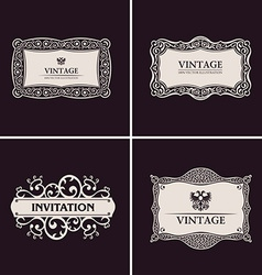 Label frames elegant border set vintage banner vector