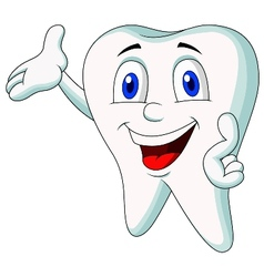 Cute tooth cartoon presenting vector