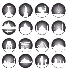 Gray button famous places in the world vector