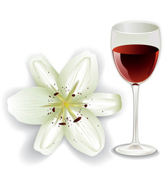 White lily and glass of red wine vector