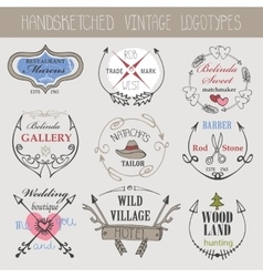 Vintage logotype setdoodle hand sketchy vector