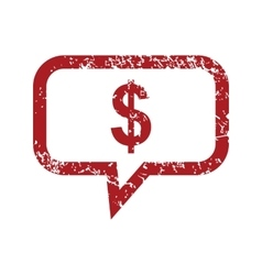 Dollar message red grunge icon vector