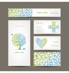 Business cards with medical objects for your vector