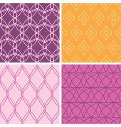 Four abstract wire shapes seamless patterns set vector