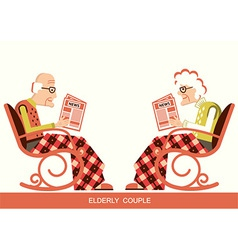 Pensioner in chair sitting and reading newspaper vector
