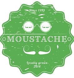 Moustache green vintage emblem - retro grunge vector