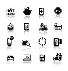 Shopping icons black vector
