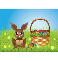Easter bunny with eggs in the basket4 vector